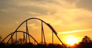 Picture of a steep roller coaster for blog about amusement park injuries.