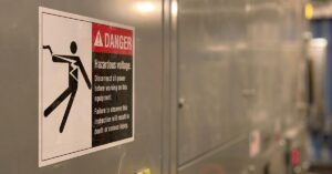 Picture of an electric shock warning sign for blog about Electric Shock Lawsuits
