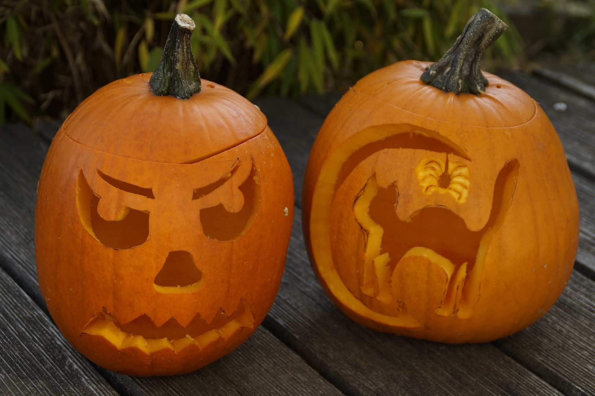 Two carved pumpkins for blog about preventing Halloween injuries